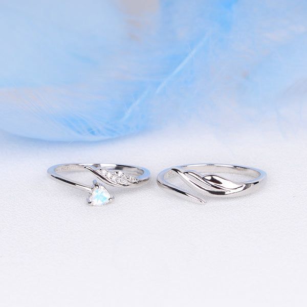 Couple Jewelry Moonstone Ring Silver Engage Ring Men Women lovely