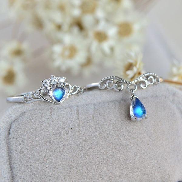 Couple Jewelry Moonstone Ring in White Gold Plated Silver Wedding Ring Women Men