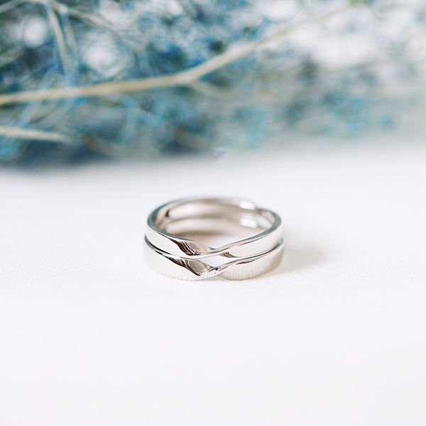 Couple Rings in White Gold Plated Sterling Silver Lovers Jewelry Unique Promise Rings Women Men