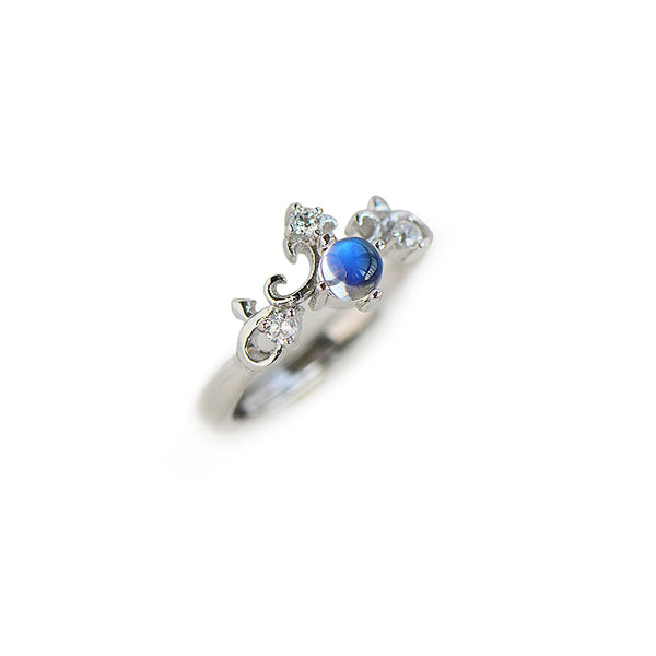 Crown Moonstone Ring Silver Engage Ring June Birthstone Women beautiful