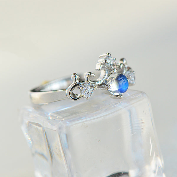 Crown Moonstone Ring in White Gold Plated Silver Engage Ring June Birthstone Women
