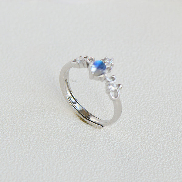 Crown Moonstone Ring Silver Engage Ring June Birthstone Women