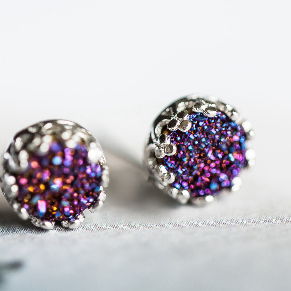 Crystal Druse Drusy Stud Earrings Silver GEMSTONE