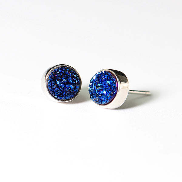 Blue Crystal Druse Drusy Stud Earrings in Sterling Silver Jewelry Accessories Women