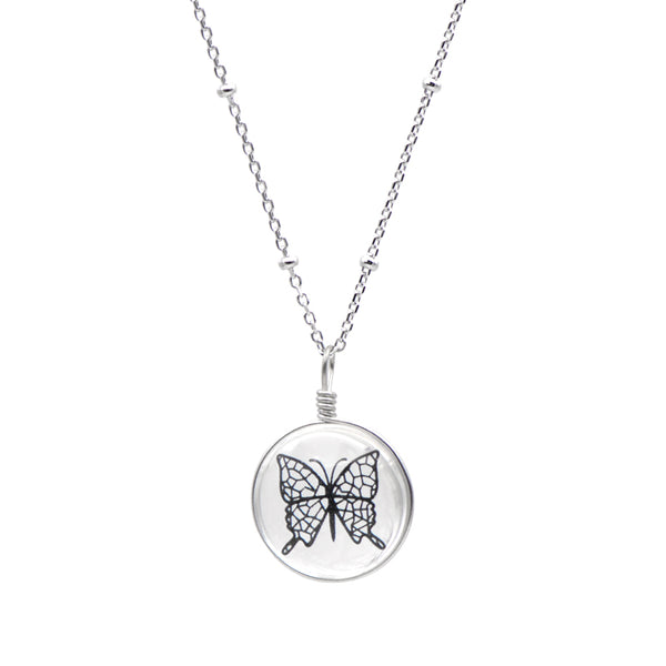 Crystal Glass Butterfly Pendant Necklace Silver Unique Handmade Jewelry Women beautiful