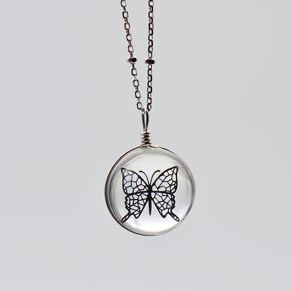 Crystal Glass Butterfly Pendant Necklace Silver Unique Handmade Jewelry Women