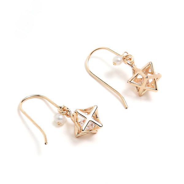 Crystal Pearl Hook Earrings Gold Jewelry Accessories Women cute