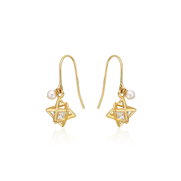 Crystal Pearl Hook Earrings Gold Jewelry Accessories Women gift