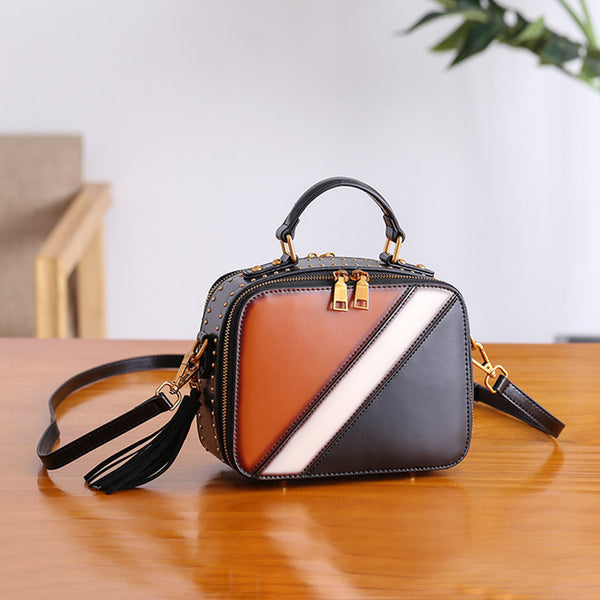 Cube Bag Women Leather Crossbody Bags Shoulder Bag Purses for Women Brown
