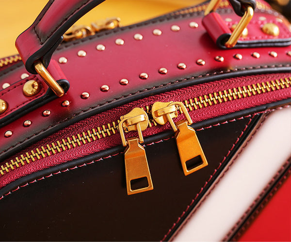 Cube Bag Women Leather Crossbody Bags Shoulder Bag Purses for Women bag red