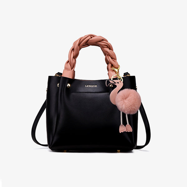 Cute Bucket Bag Womens Leather Handbags Tote Bag Crossbody Bags Black