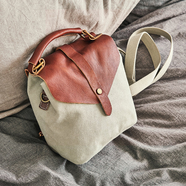 Cute Canvas and Leather Rucksack Backpack Shoulder Handbags for Women Brown