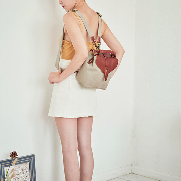 Cute Canvas and Leather Rucksack Backpack Shoulder Handbags for Women Chic