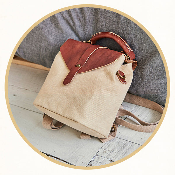 Cute Canvas and Leather Rucksack Backpack Shoulder Handbags for Women Cute