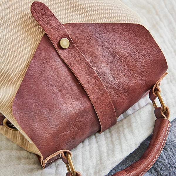 Cute Canvas and Leather Rucksack Backpack Shoulder Handbags for Women Genuine-Leather