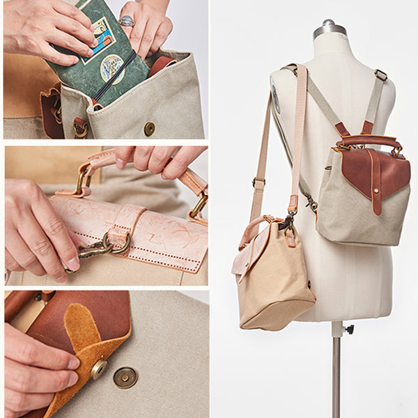 Cute Canvas and Leather Rucksack Backpack Shoulder Handbags for Women Gift