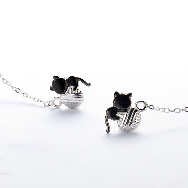Cute Cat Dangle Earrings Sterling Silver Thread Earrings