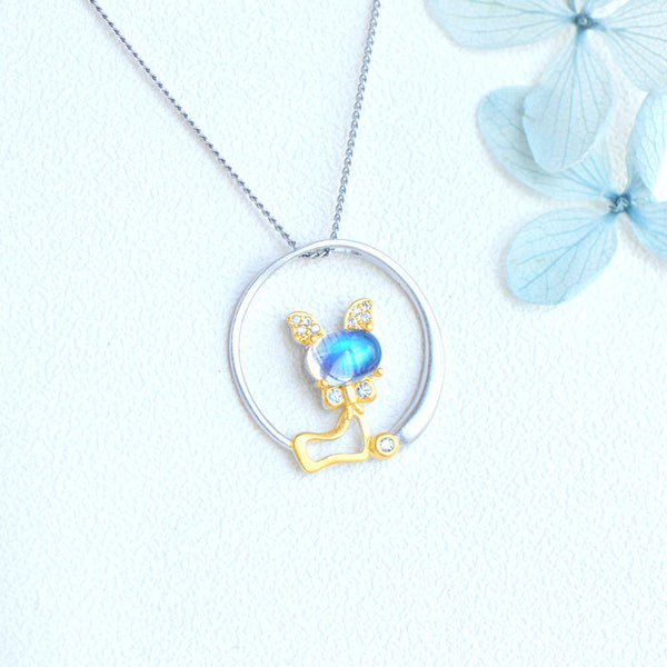 Cute Cat Shaped Gold Plated Sterling Silver Blue Moonstone Necklace June Birthstone Pendant Necklace For Women Accessories
