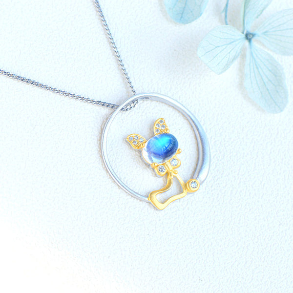 Cute Cat Shaped Gold Plated Sterling Silver Blue Moonstone Necklace June Birthstone Pendant Necklace For Women Affordable