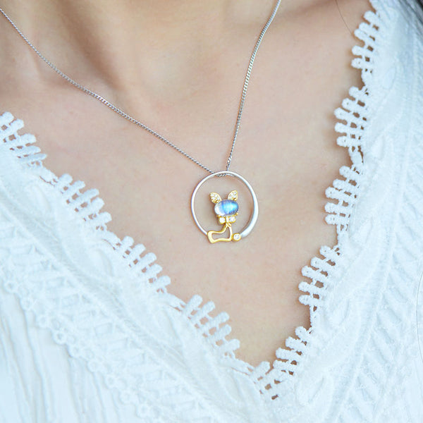 Cute Cat Shaped Gold Plated Sterling Silver Blue Moonstone Necklace June Birthstone Pendant Necklace For Women Beautiful