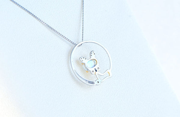 Cute Cat Shaped Gold Plated Sterling Silver Blue Moonstone Necklace June Birthstone Pendant Necklace For Women Best