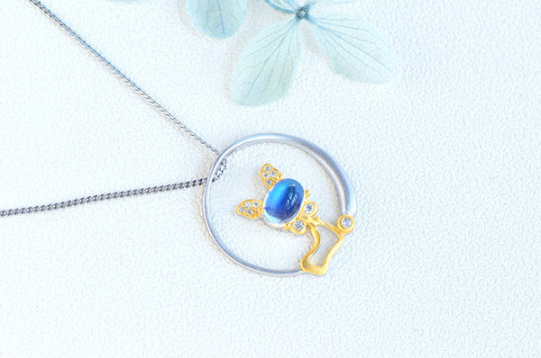 Cute Cat Shaped Gold Plated Sterling Silver Blue Moonstone Necklace June Birthstone Pendant Necklace For Women Chic