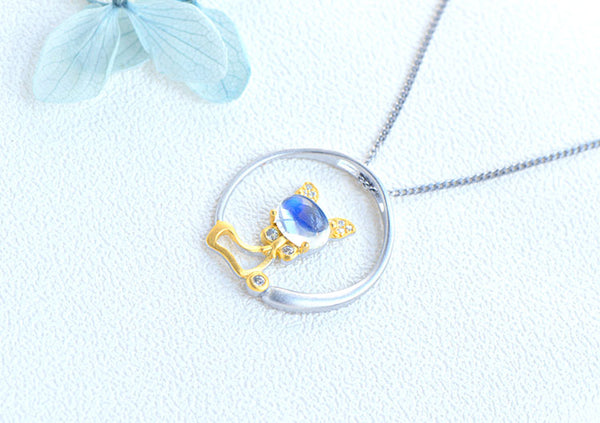 Cute Cat Shaped Gold Plated Sterling Silver Blue Moonstone Necklace June Birthstone Pendant Necklace For Women Designer