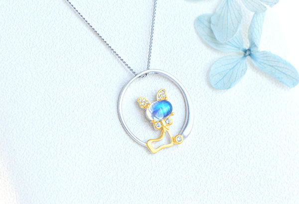 Cute Cat Shaped Gold Plated Sterling Silver Blue Moonstone Necklace June Birthstone Pendant Necklace For Women Details