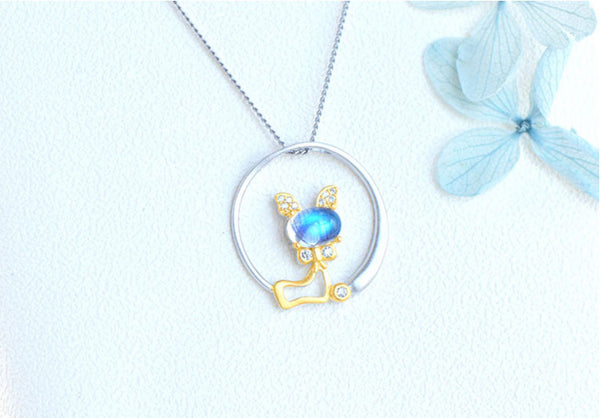Cute Cat Shaped Gold Plated Sterling Silver Blue Moonstone Necklace June Birthstone Pendant Necklace For Women Fashion