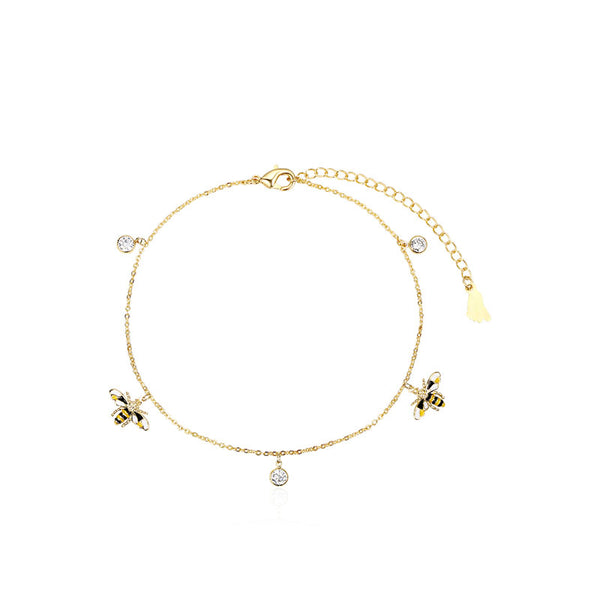 Cute Honey Bee Anklet Gold Plated Jewelry Chic Accessories Gift Women adorable
