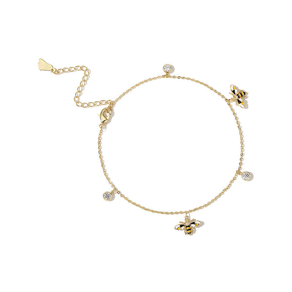 Cute Honey Bee Anklet Gold Plated Jewelry Chic Accessories Gift Women beautiful