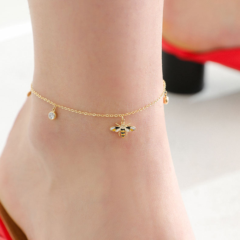Cute Honey Bee Anklet Gold Plated Jewelry Chic Accessories Gift Women fashionable