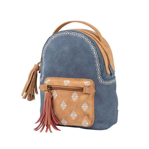 Cute Ladies Canvas and Vegan Leather Backpack Purse Small Rucksack for Women Beautiful