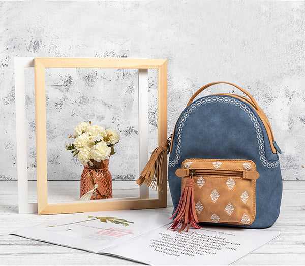 Cute Ladies Canvas and Vegan Leather Backpack Purse Small Rucksack for Women Best