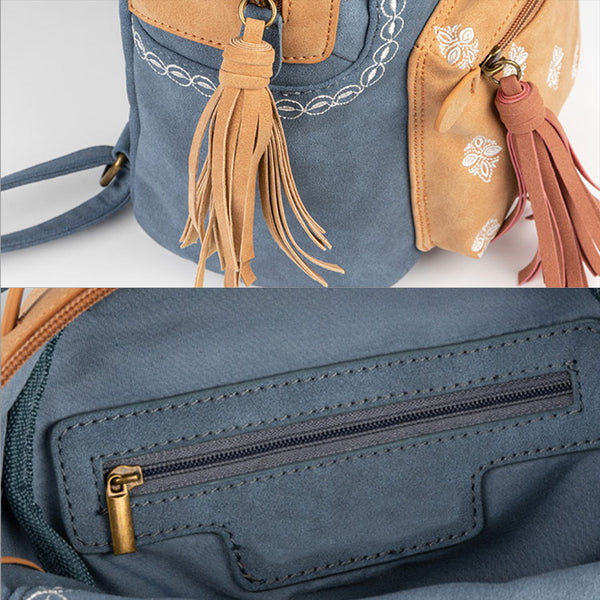 Cute Ladies Canvas and Vegan Leather Backpack Purse Small Rucksack for Women Details