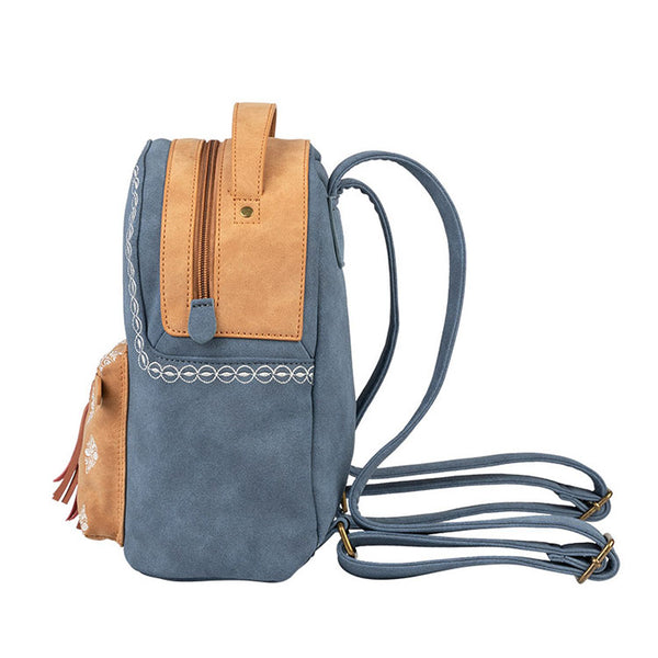 Cute Ladies Canvas and Vegan Leather Backpack Purse Small Rucksack for Women Durable