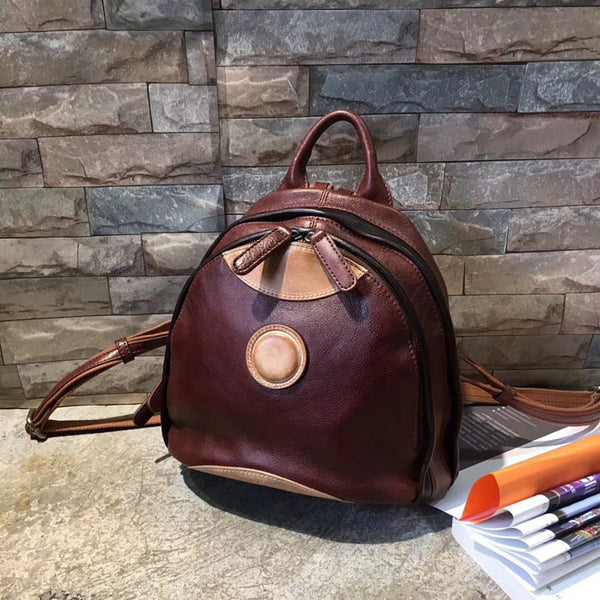 Cute Ladies Genuine Leather Backpack Purse Small Leather Rucksack for Women Accessories
