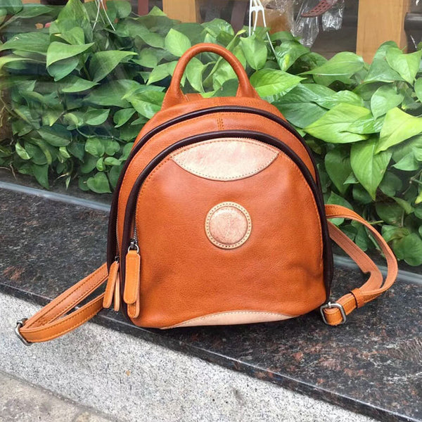 Cute Ladies Genuine Leather Backpack Purse Small Leather Rucksack for Women Affordable