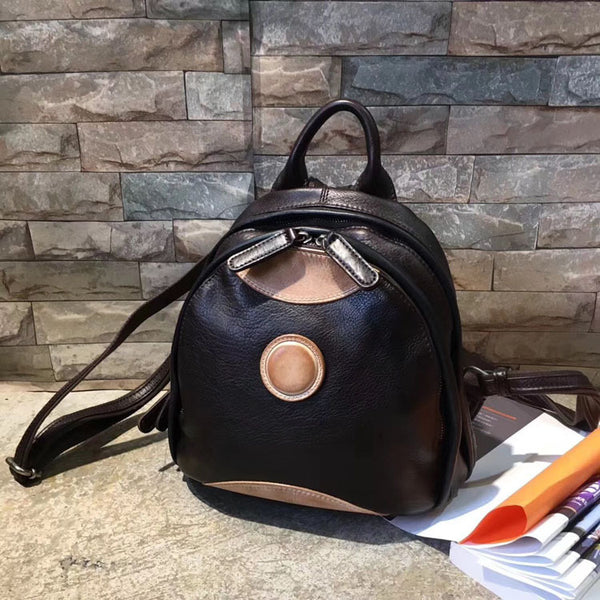 Cute Ladies Genuine Leather Backpack Purse Small Leather Rucksack for Women Beautiful