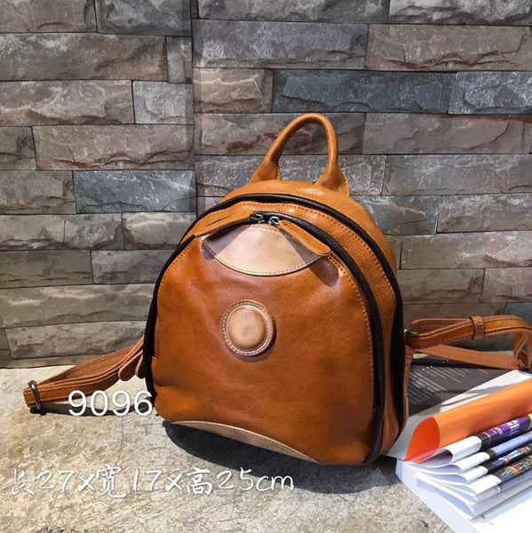 Cute Ladies Genuine Leather Backpack Purse Small Leather Rucksack for Women Brown