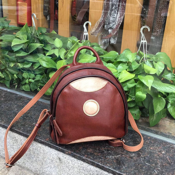 Cute Ladies Genuine Leather Backpack Purse Small Leather Rucksack for Women Cool