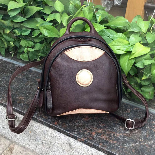 Cute Ladies Genuine Leather Backpack Purse Small Leather Rucksack for Women Cowhide