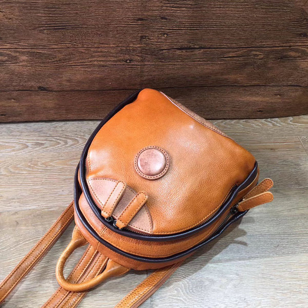 Cute Ladies Genuine Leather Backpack Purse Small Leather Rucksack for Women Cute