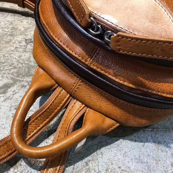 Cute Ladies Genuine Leather Backpack Purse Small Leather Rucksack for Women Details