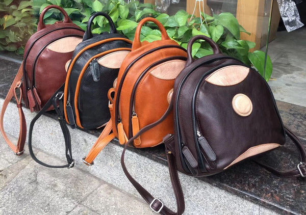 Cute Ladies Genuine Leather Backpack Purse Small Leather Rucksack for Women
