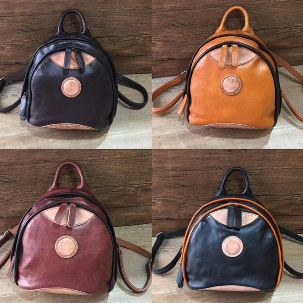 Cute Ladies Genuine Leather Backpack Purse Small Leather Rucksack for Women Online