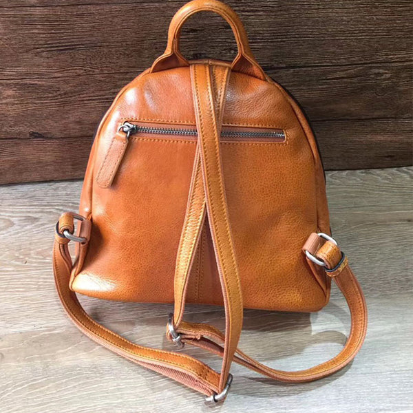 Cute Ladies Genuine Leather Backpack Purse Small Leather Rucksack for Women Original