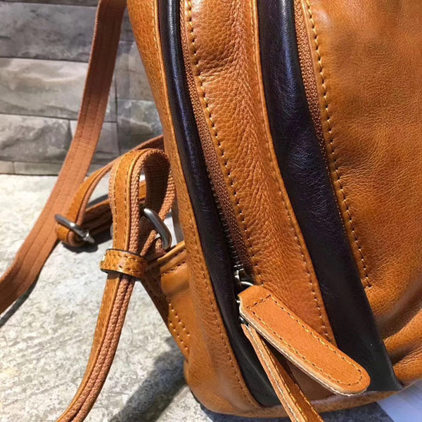 Cute Ladies Genuine Leather Backpack Purse Small Leather Rucksack for Women Stylish