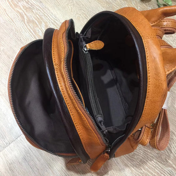 Cute Ladies Genuine Leather Backpack Purse Small Leather Rucksack for Women Vintage