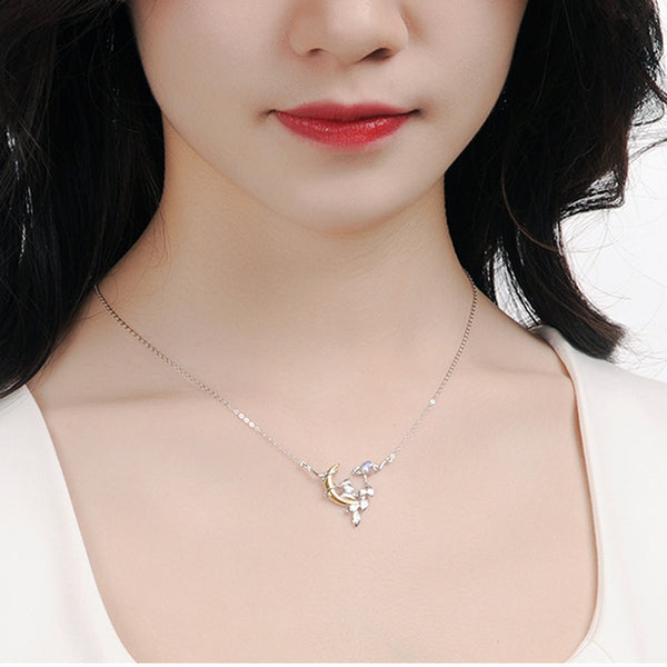 Cute Ladies Sterling Silver Bunny Moonstone Pendant Necklace June Birthstone for Women Beautiful
